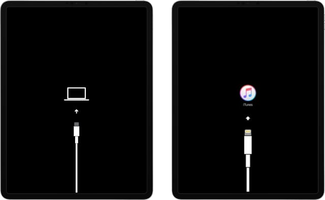 iPad Pro with old and new Recovery Mode icons, iTunes and Computer