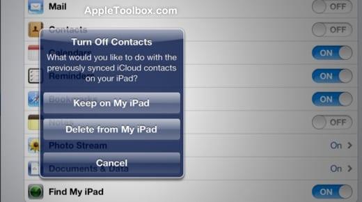 iPad icloud contacts