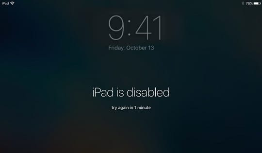 disabled iPad message
