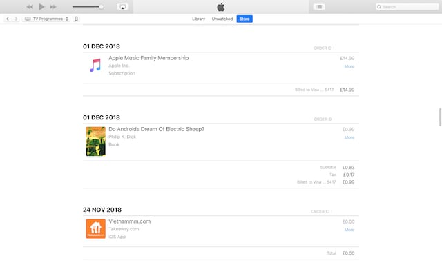 Sample iTunes purchase history.