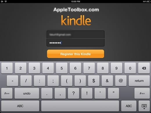 register kindle app