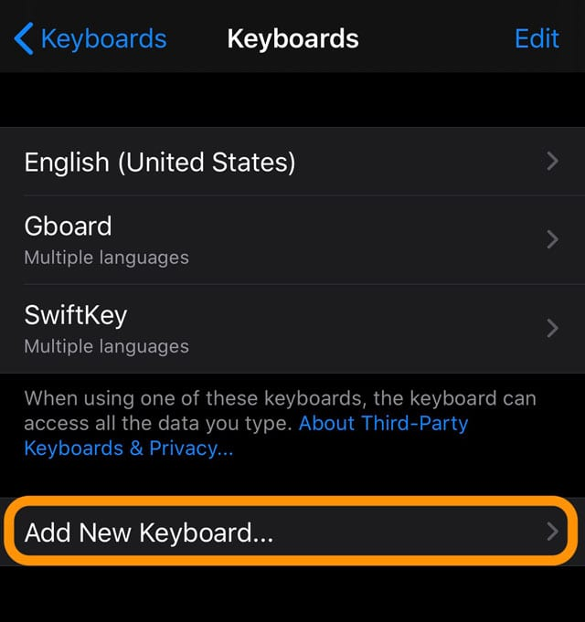add a new keyboard to your iDevice