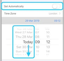 Screenshot of the Date & Time settings allowing the date to be changed manually.