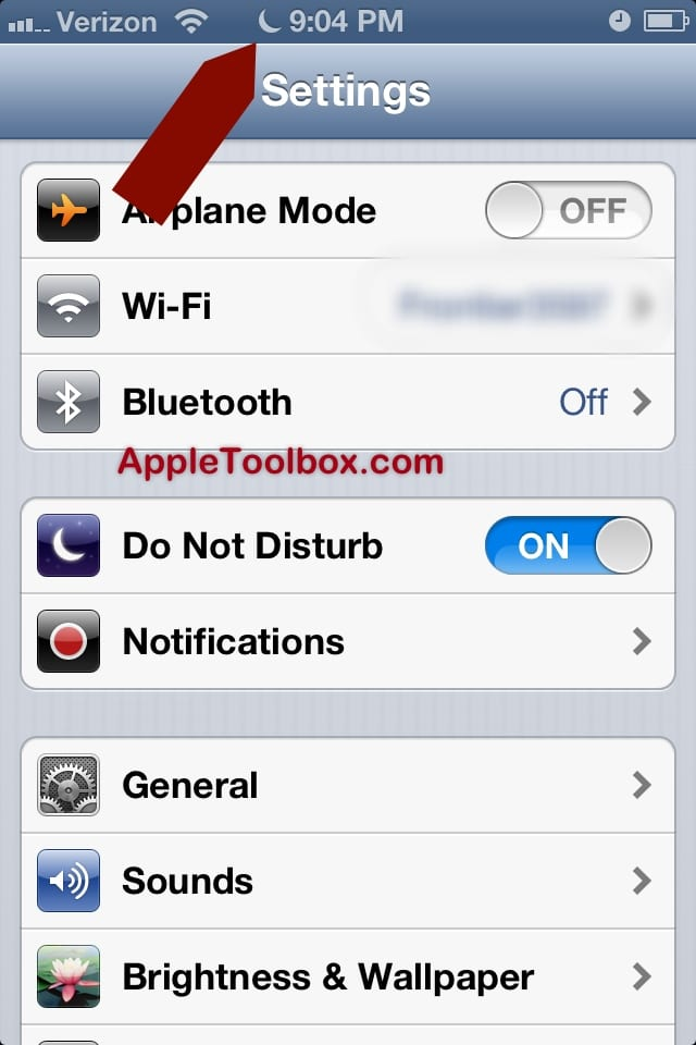 iOS 6 Do Not Disturb ON
