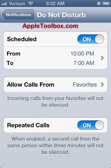 iOS 6 Do Not Disturb Settings