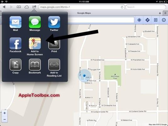 Google Maps add to home screen