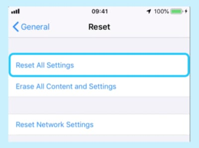 Screenshot of the Reset All Settings option in iOS Settings.
