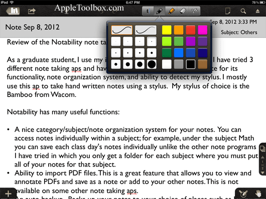 Notability note taking