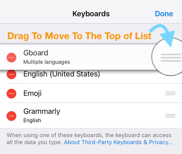 change the keyboard settings to third-party on iPhone