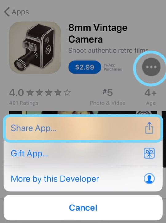 share an app from the app store with friends and family