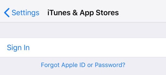 App Store and iTunes Store Apple ID sign in page