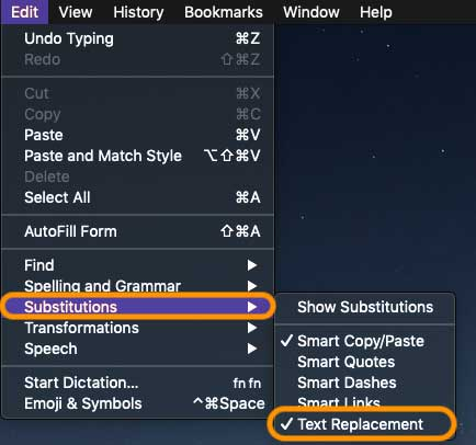use text replacement features on Mac
