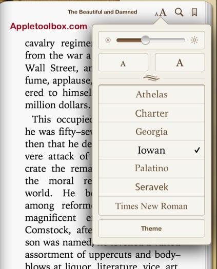 iBooks fonts