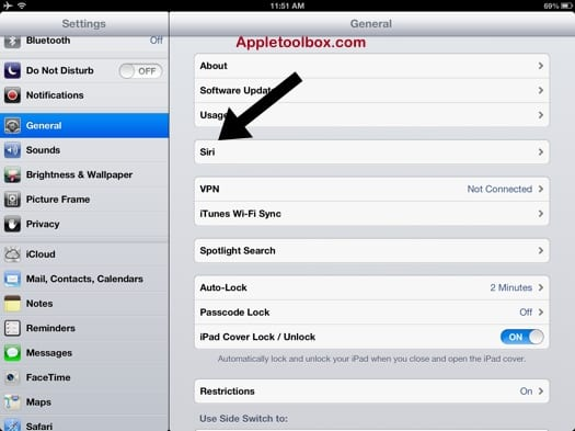 ipad Siri option setting