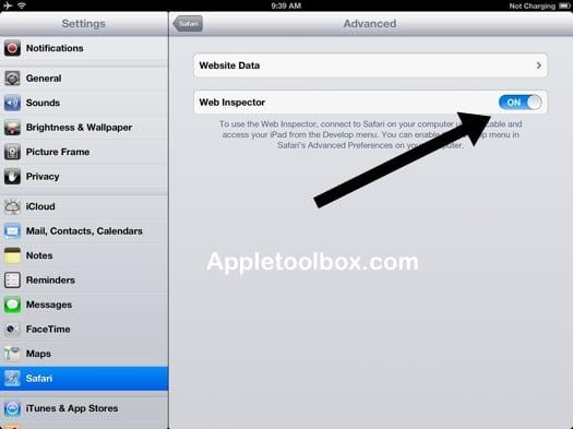 Safari iPad iPhone Web Inspector