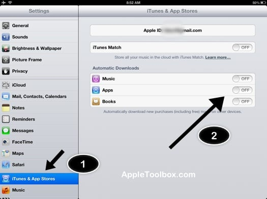 iPhone, iPad, iPod automatic downloads
