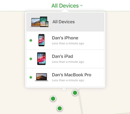 All devices window in Find My iPhone.