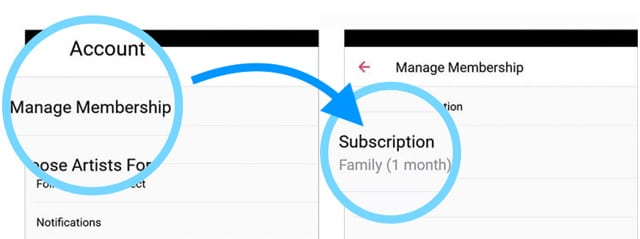 Apple music membership manage membership options