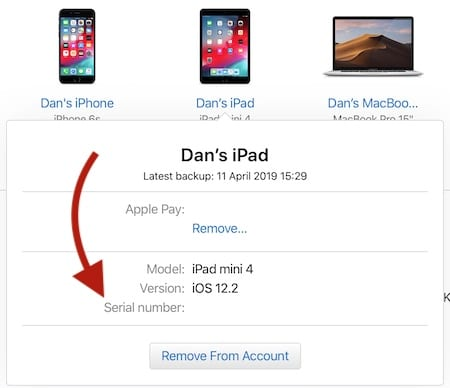 The Devices section of Apple ID has your serial numbers.