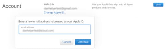 Change Apple ID username from the website