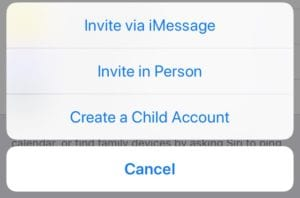 Invite in Person Family Sharing option