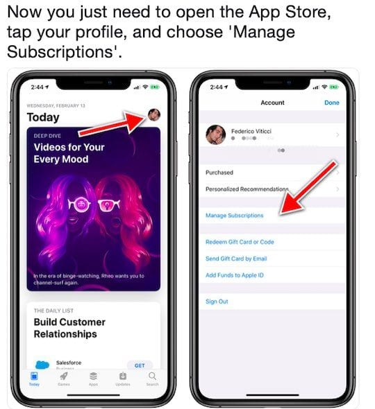 How to Manage subscriptions in iOS 12.1 and above