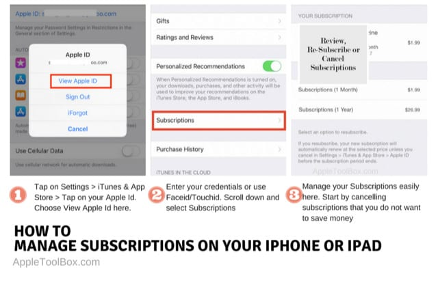 Manage Subscriptions on iPhone iOS