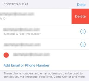 Remove Apple ID contact details