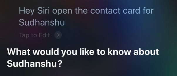 have siri open a contact card