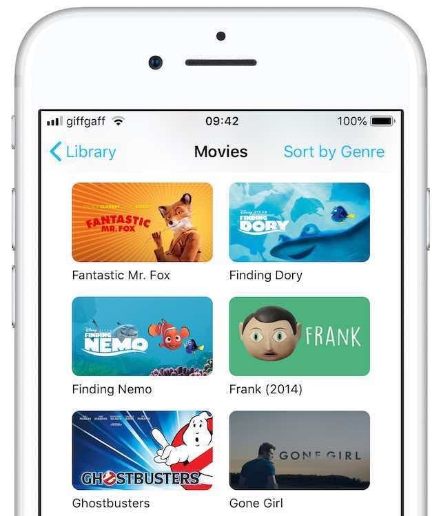 iTunes movies on an iPhone