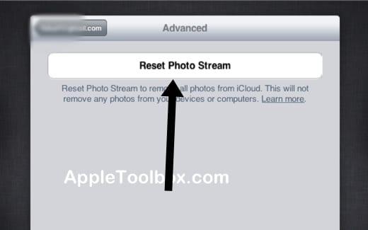 iCloud reset photo stream