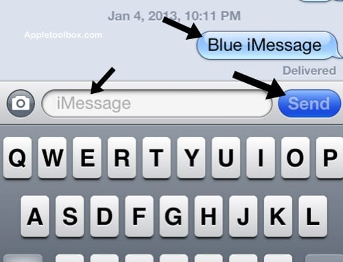 iMessage blue color not sms or mms