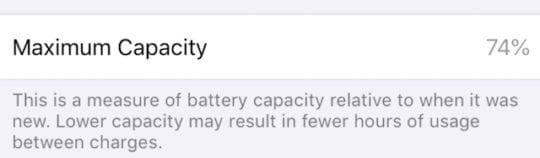 iPhone battery at 74% maximum capacity in Settings.