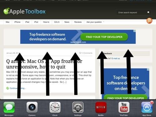 swipe up to reveal multitasking bar