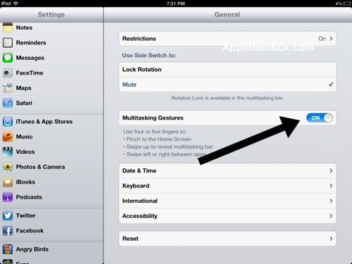 how to turn on multitasking gestures iPad