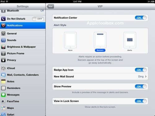 iOS VIP settings