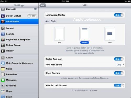 iOS VIP settings