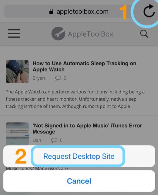 iOS Safari Request Desktop Site