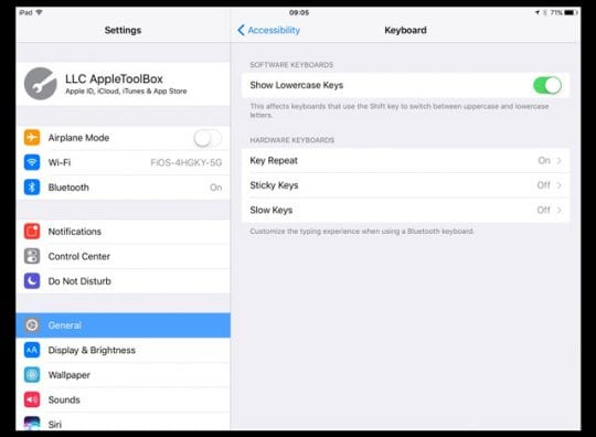 Caps Lock on iPhone, iPad, iPad mini and iPod touch