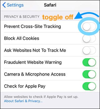 prevent cross site tracking on Safari IOS