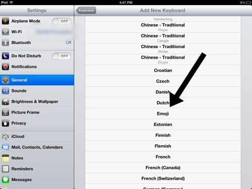 Emoji iOS keyboard