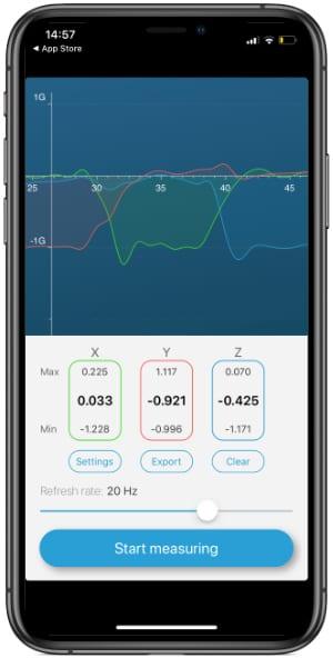 Accelerometer app on iPhone