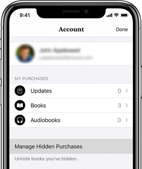Apple Books app manage hidden purchases