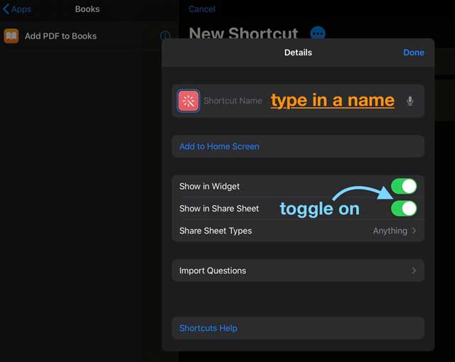 show shortcut in share sheet for iOS and iPadOS new shortcut options