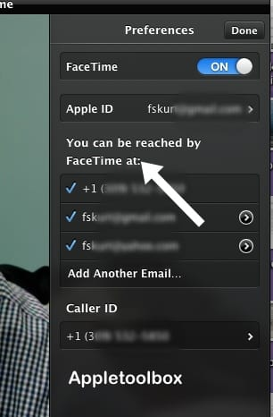 OS X Facetime Settings