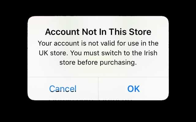App Store message account not in this store. Please switch