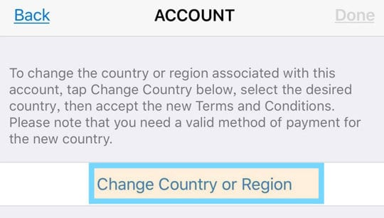 change country or region for Apple ID