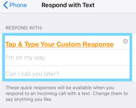 create a custom reply to iPhone's respond with text feature