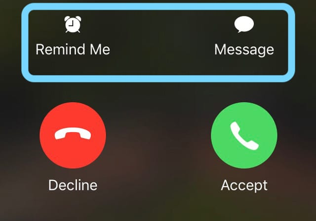 iPhone Phone Call Options for text respond and reminders