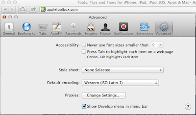 Safari Preferences advanced menu
